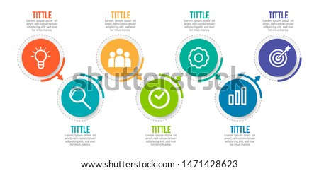 Minimal Business Infographics template. Timeline with 7 steps, options and marketing icons .Vector linear infographic with seven circle conected elements. Can be use for presentation. ストックフォト ©