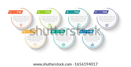Minimal Business Infographics template. Timeline with 7 steps, options and marketing icons .Vector linear infographic with seven circle conected elements. Can be use for presentation.