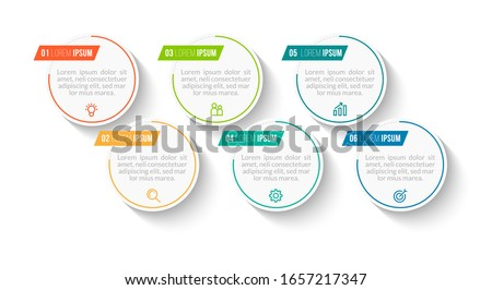 Minimal Business Infographics template. Timeline with 6 steps, options and marketing icons .Vector linear infographic with six circle conected elements. Can be use for presentation. Сток-фото ©