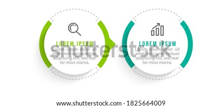 Minimal Business Infographics template. Timeline with 2 steps, options and marketing icons .Vector linear infographic with two conected elements. Can be use for presentation. Stock foto ©