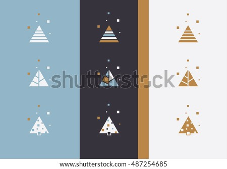 Minimal Christmas tree logo icon set, abstract triangle shape concepts with square snowflakes