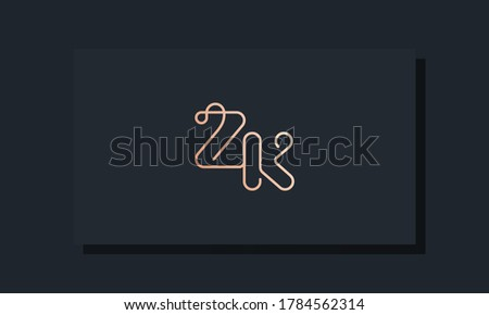 Minimal clip initial letter ZK logo. This logo inspiration from clip typeface.It will be suitable for which company or brand name start those initial. Stok fotoğraf ©