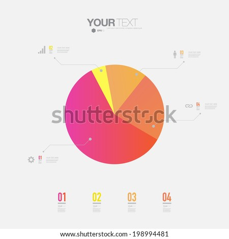 Minimal colorful percentage diagram design  can be used for workflow layout, number options, web design.  Eps 10 stock vector illustration