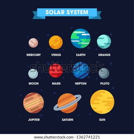 Minimal Colorful universe infographic. Solar system, Planets comparison, asteroid, meteor, star and planets on galaxy background vector illustration, modern trendy style