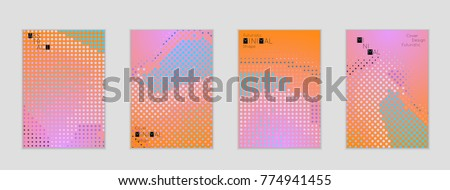 Minimal cover banner template. Geometric halftone gradient texture. Futuristic abstract modern pattern with halftone color effect creating digital art. #774941455