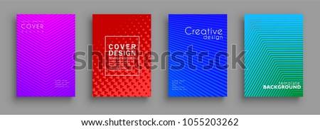 Minimal cover design set. Colorful halftone gradients. Background geometric patterns. Vector template brochures, flyers, presentations, leaflet, magazine a4 size #1055203262