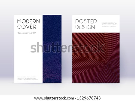 Minimal cover design template set. Violet abstract lines on dark background. Delicate cover design. Amazing catalog, poster, book template etc.