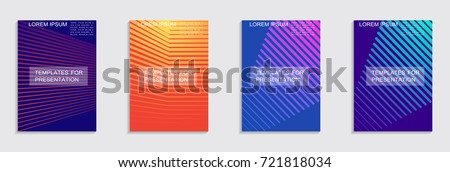 Minimal covers design. Colorful halftone gradients. Future geometric patterns. #721818034