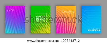 Minimal covers design. Colorful halftone gradients. Future geometric patterns. Vector template brochures, flyers, presentations, leaflet, magazine a4 size #1007418712