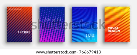Minimal covers design. Colorful halftone gradients. Future geometric patterns. Vector template brochures, flyers, presentations, leaflet, magazine a4 size #766679413