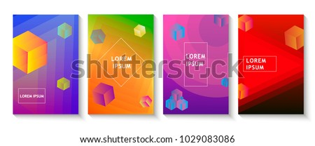 Minimal covers design, gradients, cubes, lines, shapes. Tech, futuristic banner, future template, abstract flyer, poster, trendy minimalist brochure. Vector geometric illustration #1029083086