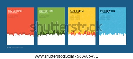 Minimal covers design set, City buildings and real estate concept, Inspiration for your design all media, Easy to use and edit by add your own logo, images, and text, whatever you want.