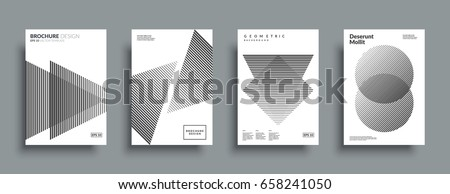 Minimal covers design set. Simple shapes with halftone gradients. Eps10 layered vector.