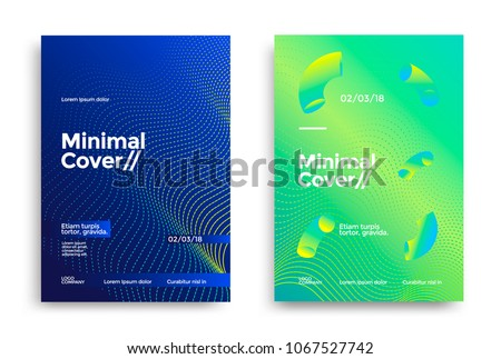Minimal covers design with halftone gradient shapes. Poster template with geometric dot lines. stock photo