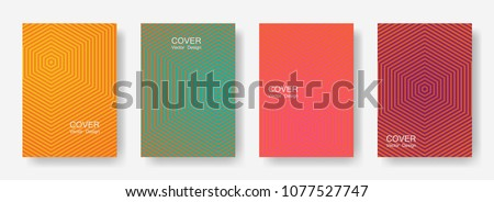 Minimal covers design with hexagon lines. Geometric halftone gradients.  Vibrant Eps10 vector. Future geometric patterns with hexagons. Halftone lines texture backgrounds design.