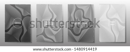 Minimal covers linear design. Fluid curve shapes geometric lines patterns. Halftone backgrounds for notepads, notice paper covers. Lines texture, header title elements. Cover page templates.