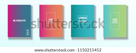Minimal Covers, Vector Hipster Abstract Tech Neon Set. Magenta, Cyan, Yellow Corporate Identity Blend Wave Halftones. Trendy Business Minimal Covers, Retro Music Poster Colorful Gradient Shapes. #1150215452