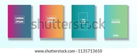 Minimal Covers, Vector Linear Abstract Tech Neon Set. Magenta, Cyan, Yellow Cool Corporate Identity Glam Funky Halftones. Business Minimal Covers, Retro Ad Music Party Poster Bright Gradient Stripes #1135713650