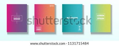 Minimal Covers, Vector Linear Abstract Tech Neon Set. Magenta, Cyan, Yellow Corporate Identity Glitch Wave Halftones. Funky Business Minimal Covers, Retro Music Poster Colorful Gradient Shapes. #1131715484