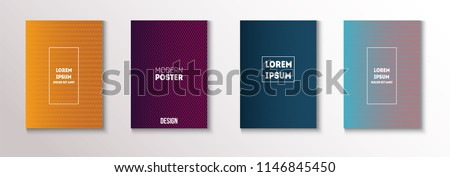Minimal Covers, Vector Linear Abstract Tech Neon Set. Magenta, Cyan, Yellow Corporate Identity Blend Glitch Halftones. Trendy Business Minimal Covers, Retro Music Poster Colorful Gradient Shapes. #1146845450
