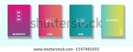 Minimal Covers, Vector Linear Abstract Tech Neon Set. Magenta, Cyan, Yellow Corporate Identity Blend Glitch Halftones. Simple Business Minimal Covers, Retro Ad Music Poster Bright Gradient Stripes #1147485692