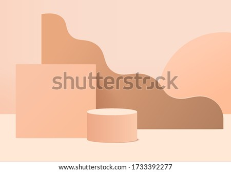 Minimal cream Podium and scene with 3d render vector in abstract cream background composition, 3d illustration mock up scene geometry shape platform for cream product display. stage for cream modern