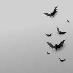 Minimal creative background with paper scary black bats on gray background with copy space. Halloween concept, copyspace, flatlay, top view. Vector illustration.