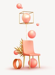 Minimal design background with realistic 3d objects of different shapes. creative abstraction pink chair and golden palm branch leaves, coral sphere, ball round, ballons rose color.