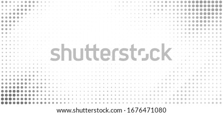 Minimal dotted grayscale background with halftone effect. Simple vector graphic pattern with grey dots on a white Photo stock ©
