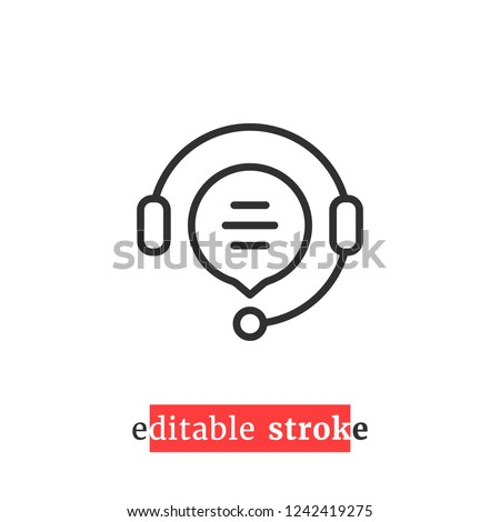 minimal editable stroke hotline icon. flat linear change line thickness simple operator logotype graphic unique design isolated on white. concept of client network for ecommerce and user consultation