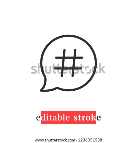 minimal editable stroke relevant icon. flat change line thickness logotype graphic lineart design art isolated on white. concept of short message for microblog or messanger and hot or viral content