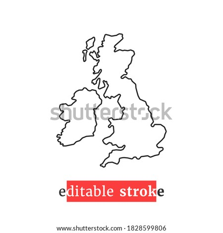 minimal editable stroke uk map icon. flat modern simplified logotype art design element isolated on white background. concept of united kingdom area or territory and great britain badge