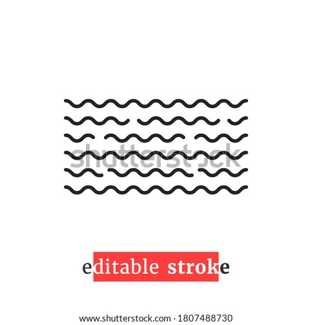 minimal editable stroke wavy water icon. flat lineart style trend modern spa logotype graphic art design isolated on white background. concept of flowing wave badge and aqua streaming pictogram
