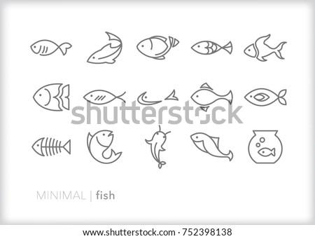 Minimal fish icons