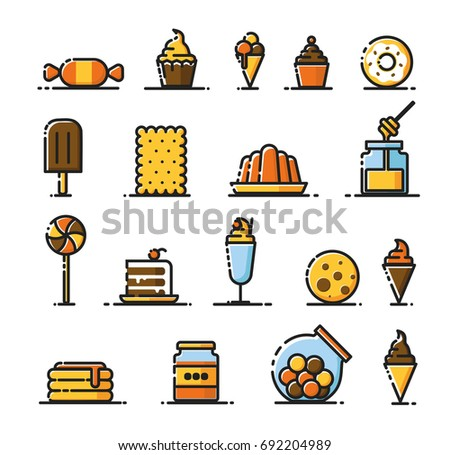 Minimal flat, modern and fancy icon set, illustration of different type sweets like biscuit, muffin, candies, honey. donut, ice cream, pudding and many more.