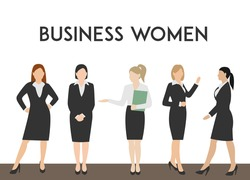 Minimal flat vector illustration business women silhouettes walk step forward full length over white background. Business woman in costume different poses with copy space for text.