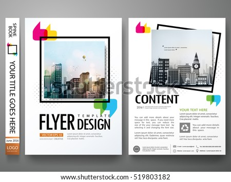Minimal flyers report business magazine. Brochure design template vector. Square frame in cover book portfolio presentation poster. City concept in A4 layout.