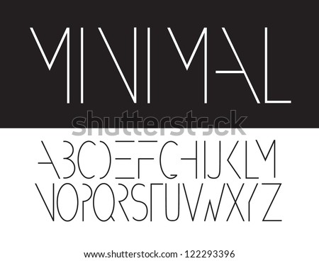 Minimal Font Symbol Icon Alphabet A through Z Vector