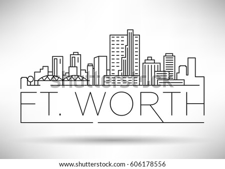 Minimal Ft. Worth Linear City Skyline with Typographic Design