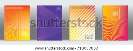Minimal geometric cover. Vector abstract line pattern for poster design. Set of templates for business brochures. 2d prints for banner background. Graphic pattern for annual album backdrop. #718039039