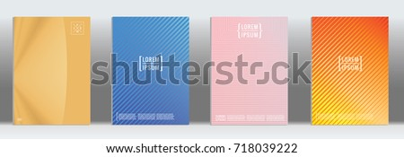 Minimal geometric cover. Vector abstract line pattern for poster design. Set of templates for business brochures. 2d prints for banner background. Graphic pattern for annual album backdrop. #718039222