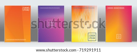 Minimal geometric cover. Vector abstract line pattern for poster design. Set of templates for business brochures. 2d prints for banner background. Graphic pattern for annual album backdrop. #719291911