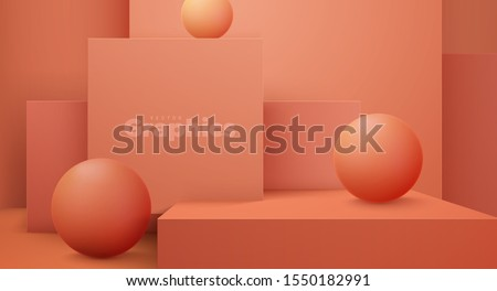 Minimal geometric interior. Vector 3d illustration. Modern studio space. Coral background. Futuristic showroom concept. Stage or podium for product exposition. Geometric cubes and spheres