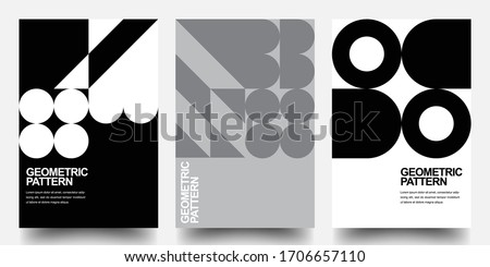 Minimal Geometric Posters Set. Monochrome Patterns. Bauhaus And Swiss Pattern Background, Abstract Geometric Shape Design Vector Poster. Eps10 vector.