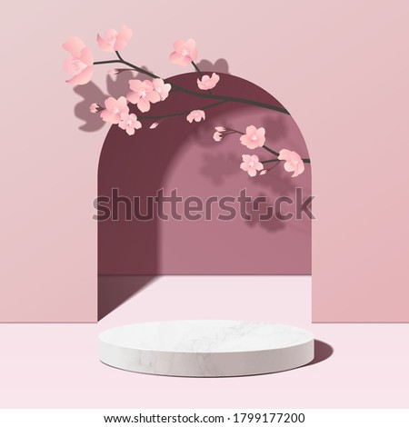Minimal geometric, white marble podium mockup in pink background with pink sakura flower. product presentation, mock up, scene to show cosmetic product, Podium, stage pedestal or platform. 3d vector