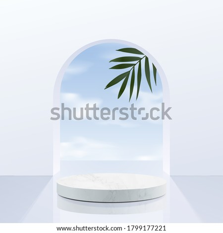 Minimal geometric, white marble podium with sky background and leaves. product presentation, mockup, scene to show cosmetic product, Podium, stage, pedestal or platform. simple clean design, 3d vector