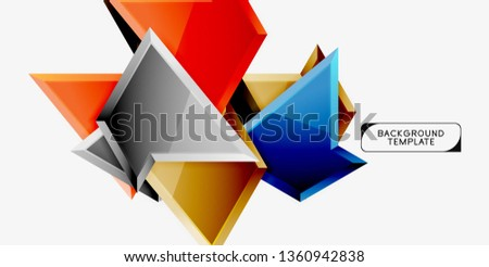 Minimal geometrical triangles with 3d effect abstract background template, vector modern minimal design #1360942838