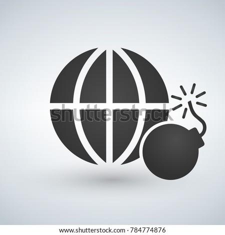 minimal globe icon with bomb