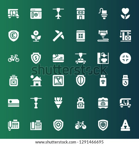 minimal icon set. Collection of 36 filled minimal icons included Font, Shield, Bike, Fax, Tuk tuk, Rice cooker, Poison, Flowers, d printer, Card, Pendrive, Kindergarden, Minimize