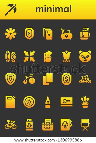 minimal icon set. 26 filled minimal icons.  Collection Of - Flower, Pick, Shield, Cards, Bike, Mug, Surf, Minimize, Pattern design, Cat, Tandem, Gas can, Galata tower, Card, Pendrive